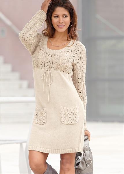 Современные вязаные платья спицами - Модное вязанное платье спицами с фантазийным узором