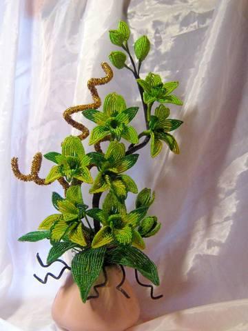 Бисероплетение орхидея зеленая - Master class.