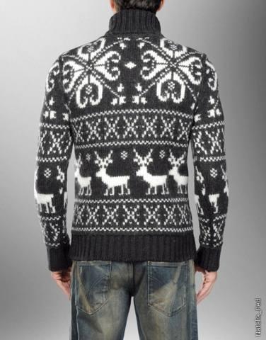 мужской свитер с оленями связать схема.