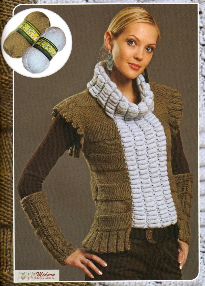 Вязание спицами модная безрукавка