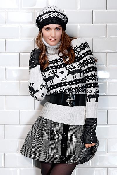 Вязаный пуловер и берет с жаккардовым узором. Модели с норвежским узором ж
