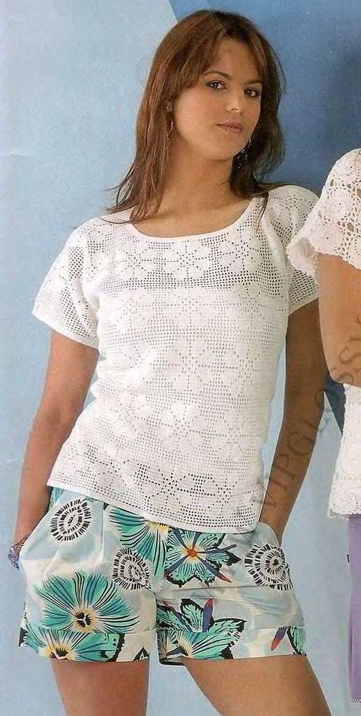 Филейное вязание блузки крючком 26