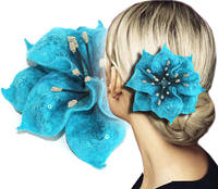 Причёски с бирюзовыми цветами