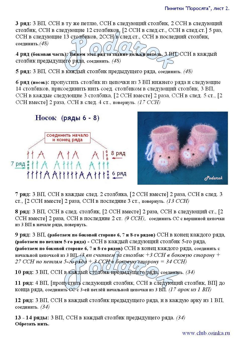 Пинетки описание и схемой