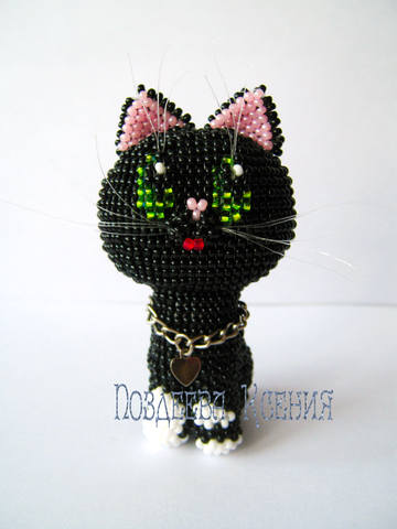 Маленький котенок из бисера