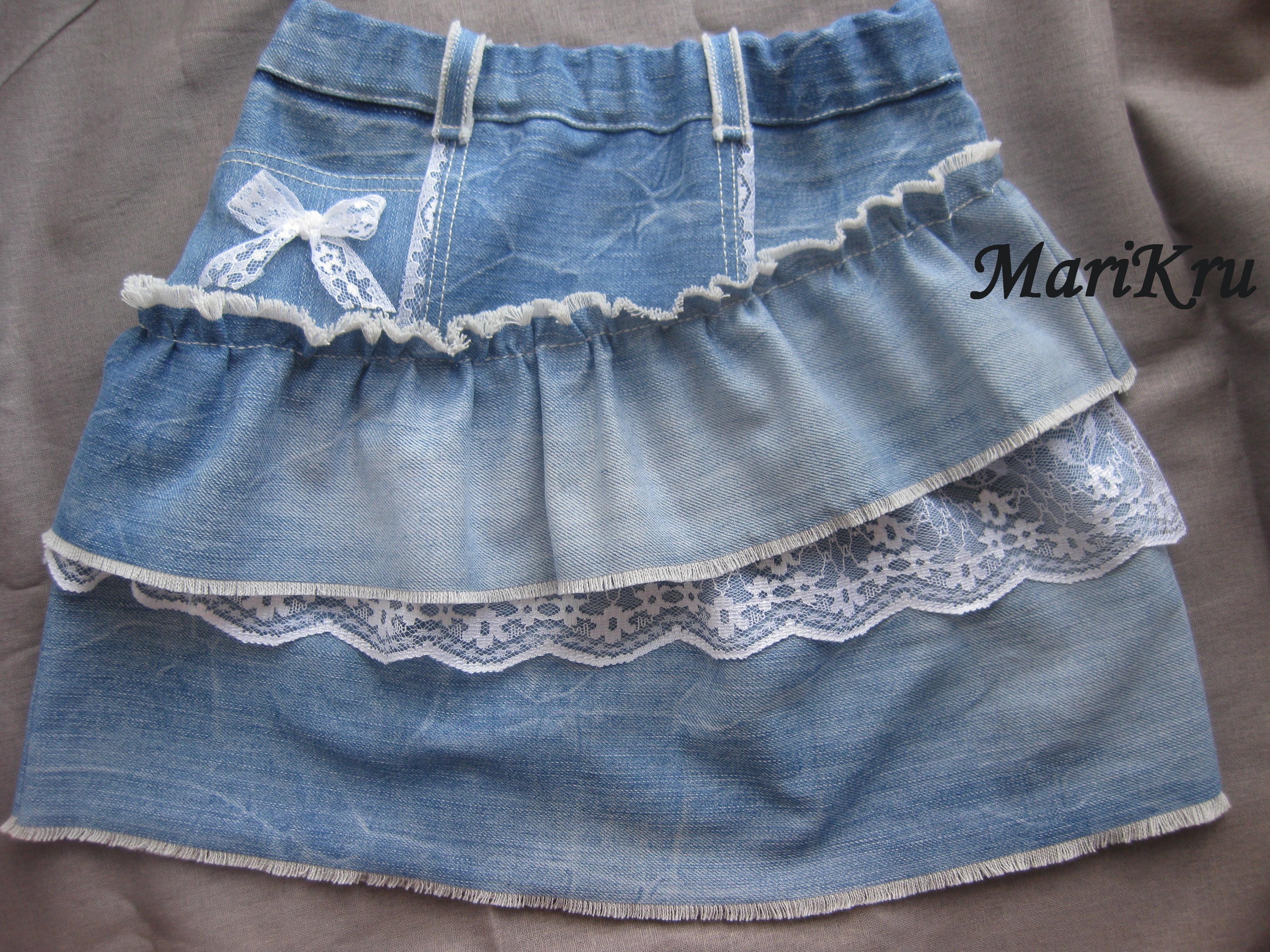 Как сшить джинсовую юбку для девочки из старых джинсов 61