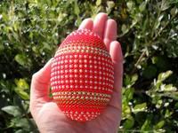 Яйцо Красное с жемчугом 2