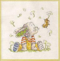 """Схема вышивки  """"Кролик с мышкой """" ."""