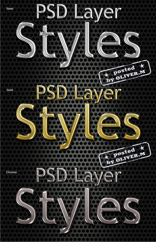 Metal styles for Photoshop - Steel, gold, chrome