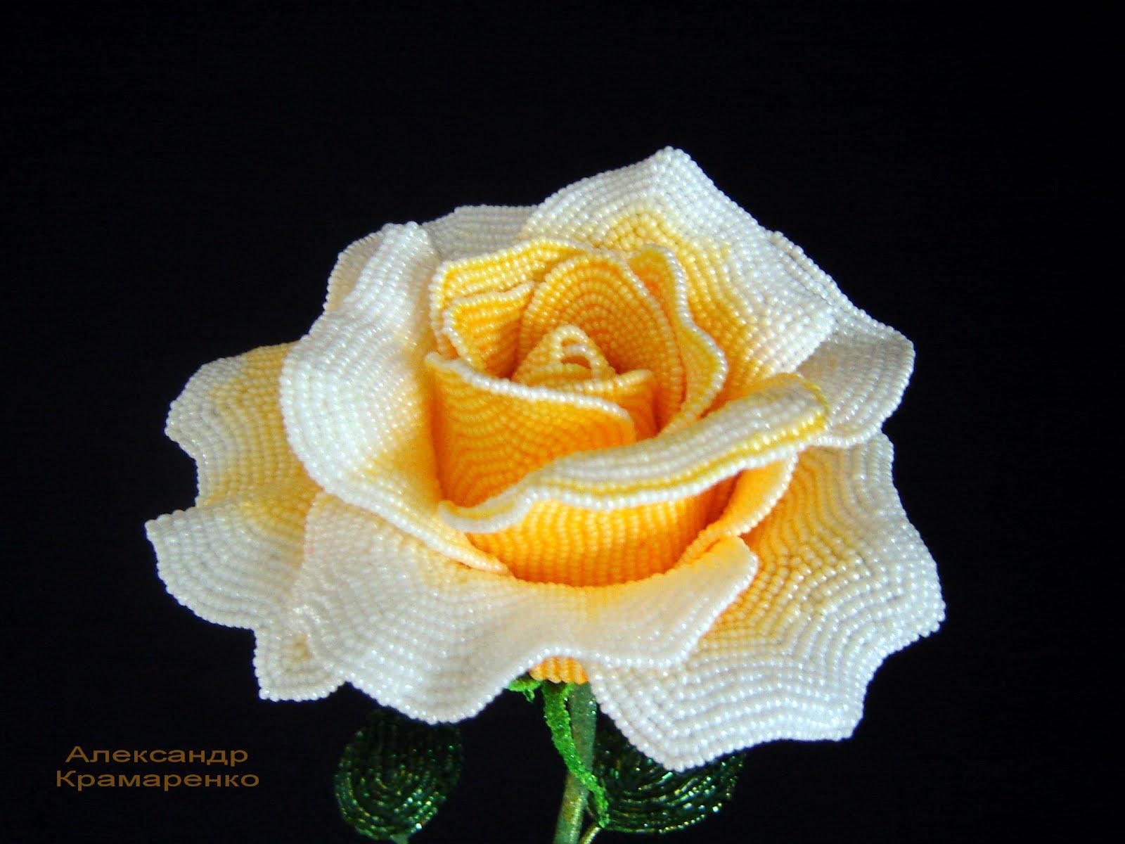 Давайте научимся делать розу из бисера. .  Акация, деревья из бисера, мастеркласс / Схемы плетения бисером, цветы и...