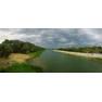 Вид с моста на реку Урал за 15 минут до начала грозы, панорамная фотография