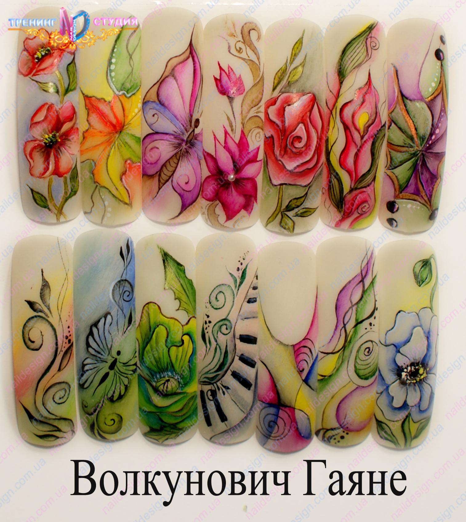 Фото дизайн ногтей акварель