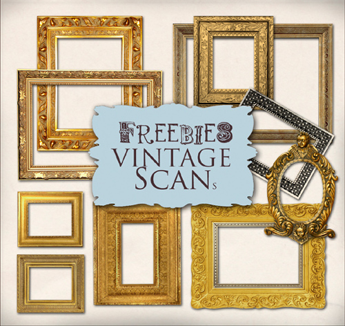 Scrap kit - Collection of Golden Vintage Frames (Set 2)