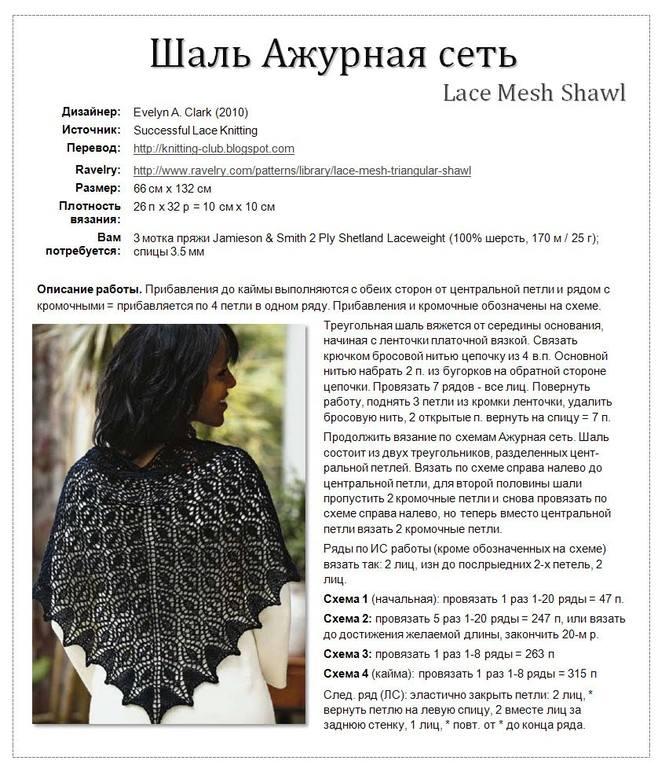 Ажурное вязание на спицах платок