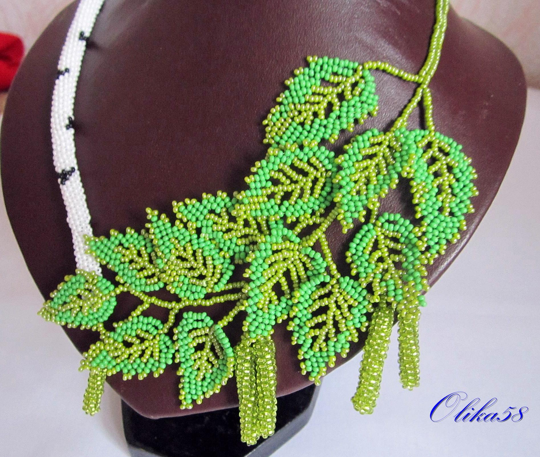 Бисероплетение листья мастер класс с пошаговым
