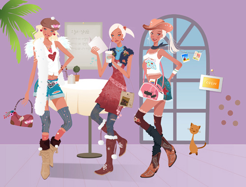 Beautiful Girls in Cafe - PSD Source