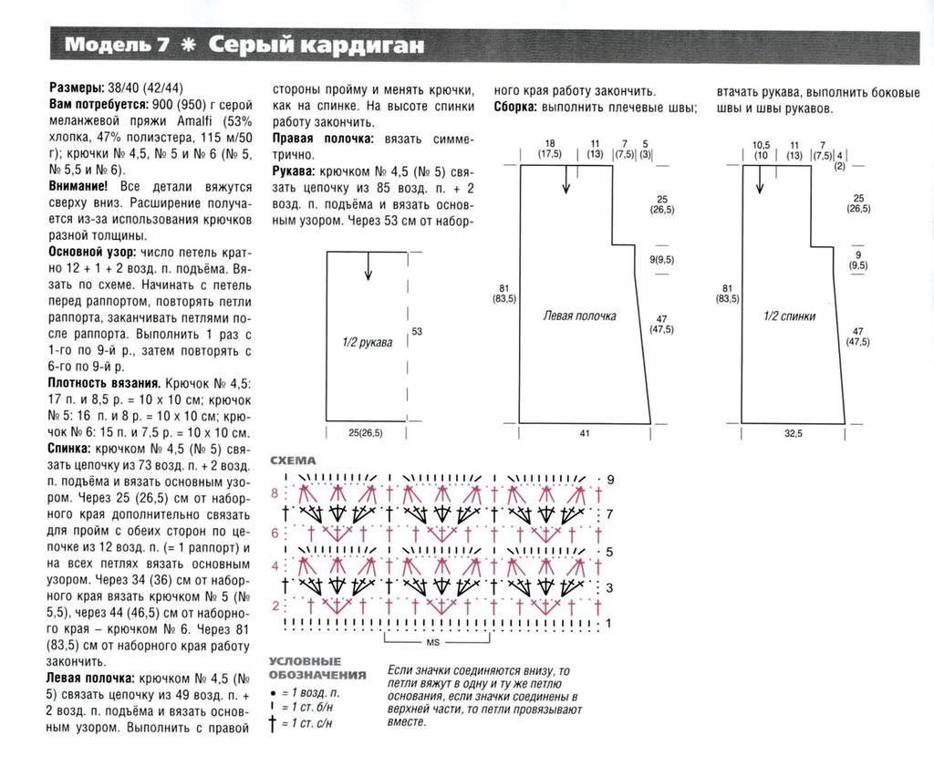 Зеленый кардиган крючком схемы и описание