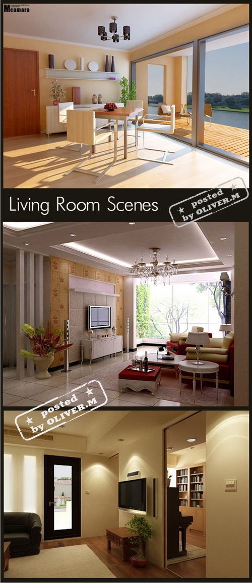 Living room interiors scenes for 3ds max part 2 all for Living room 3ds max