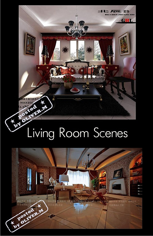 Classic Living Room Interiors for 3ds Max