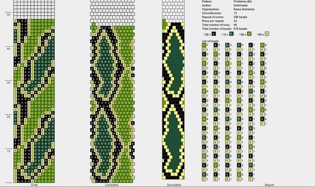 Схема жгута из бисера змея