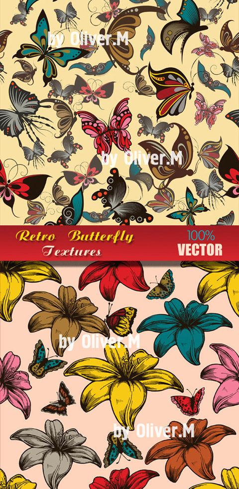 Vector Textures with Butterflies in Retro style