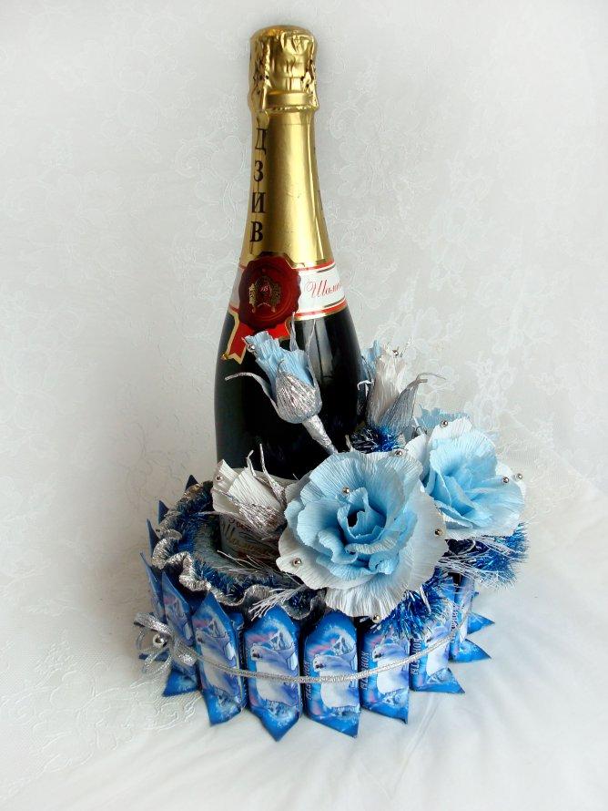 Подарок из конфет с шампанским своими руками 797