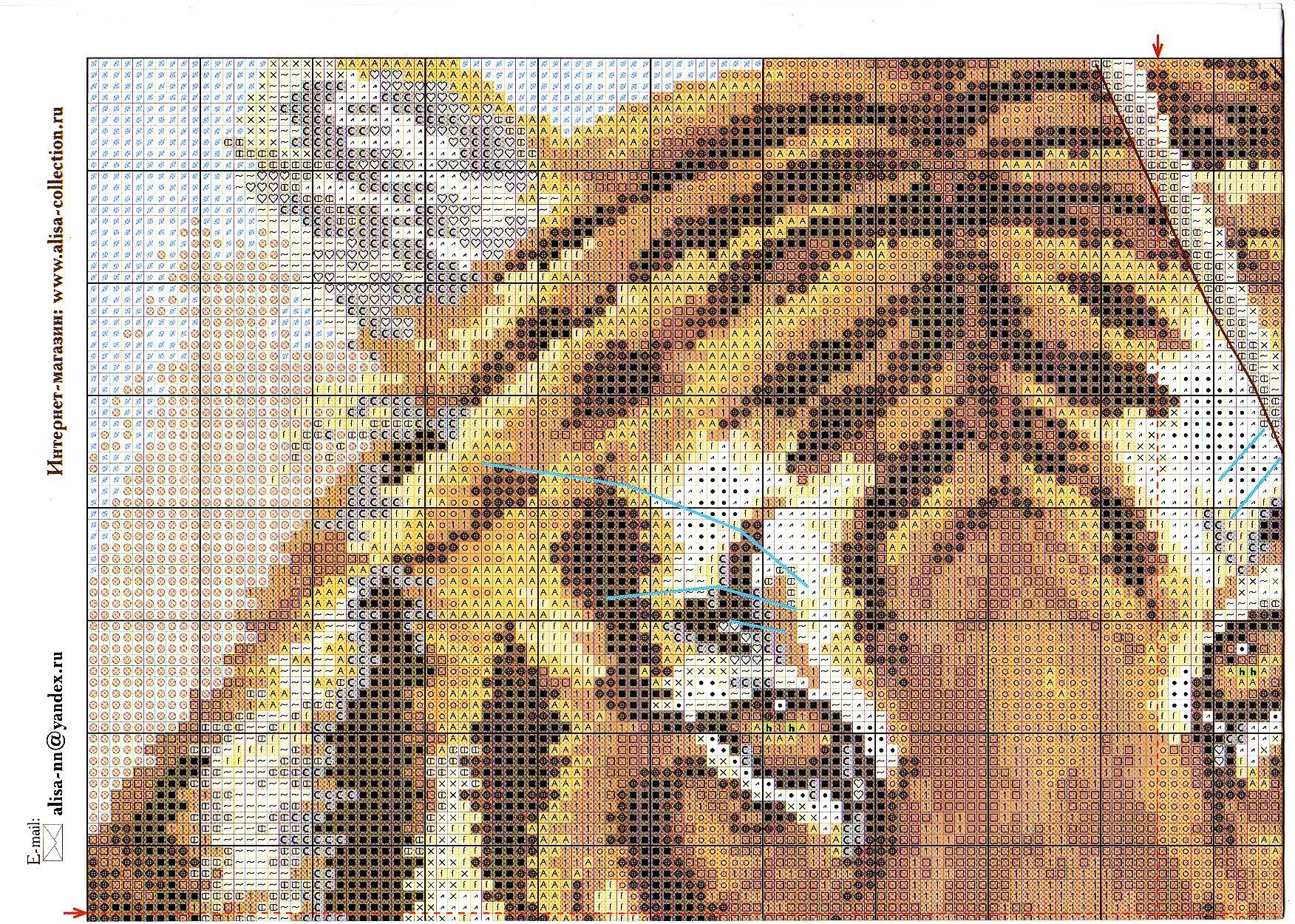 Большие схема вышивок тигров