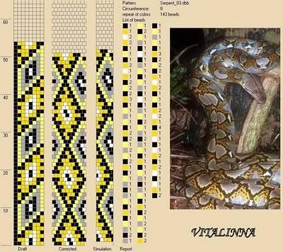 """Жгуты из бисера  """"Змея """" со схемами."""