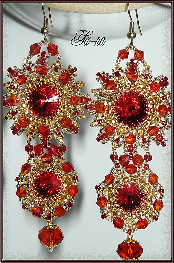 Ya-na. бисер. нить.  17913 просмотра. биконус. красный. плетение мозаичное.  Мастер-класс. плетение по кругу. серьги...