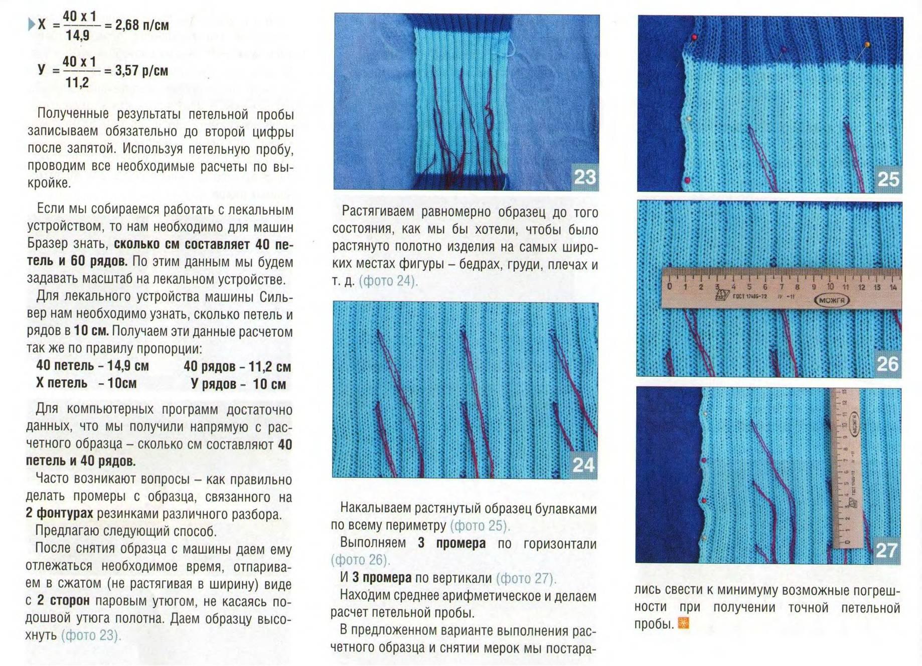 Расчет петель для вязания для машинного вязания