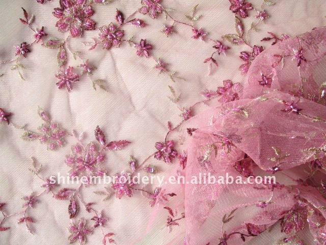 light pink tulle fabric with handwork embroidery fabric for dresses nice design