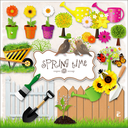 Scrap kit - Collection of Spring Elements