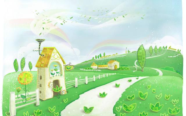 Скачать детские обои, домик, забор, дорожка, деревья, узоры, радуга, листья, холмы, фото, обои, картинка #12403997 - a-matata.ru