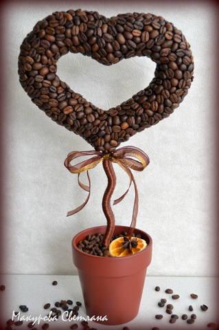 Как сделать дерево из кофе в форме сердца