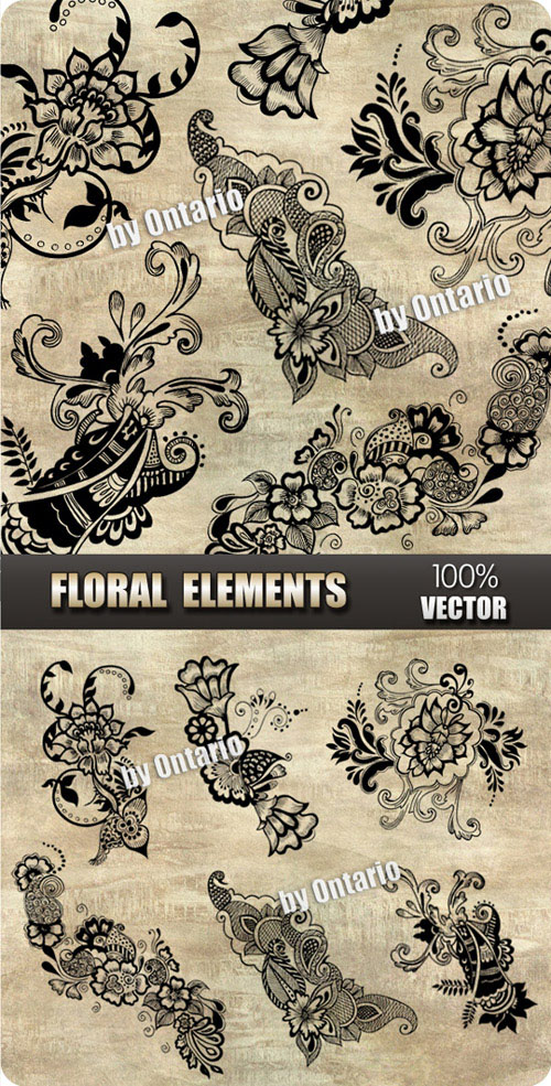 Pack of 6 beautiful Floral Elements - 7 mb