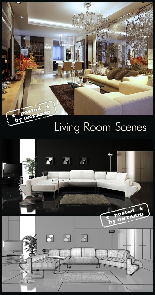 [3dMax] Living room Interiors Scenes for 3ds Max (part 06)