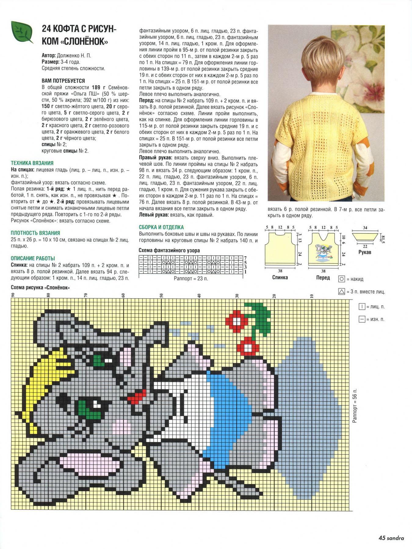 Узоры для детского вязания спицами с описанием и схемами 25