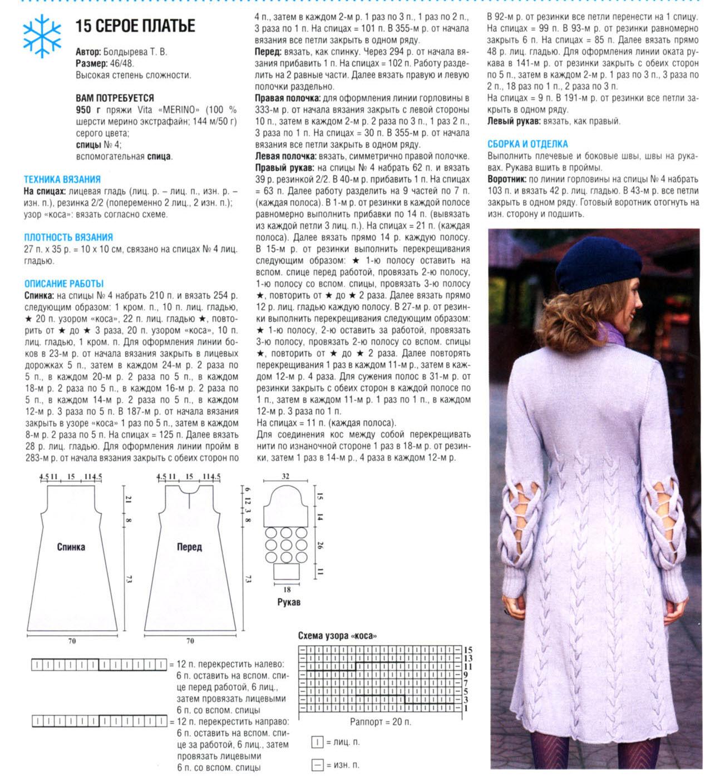 Красивое вязаное платье спицами со схемами