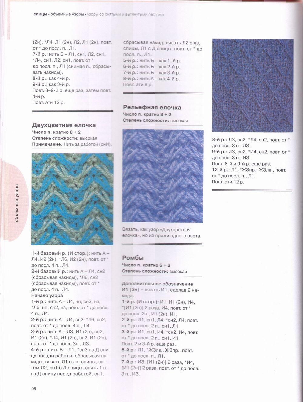 Двухцветные узоры со снятыми петлями спицами с описанием и схемами