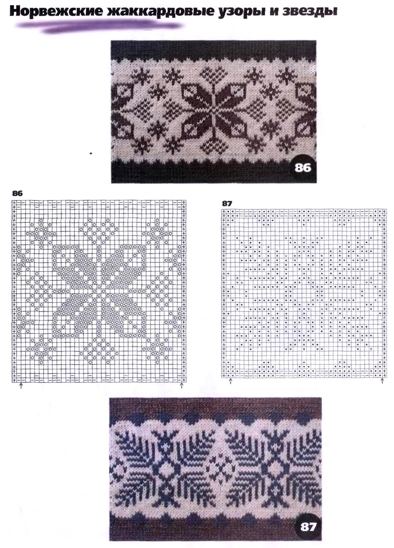 Рисунки и схемы для жаккардового вязание
