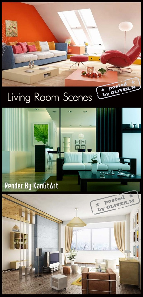 Living room Interiors Scenes for 3ds Max, part 7