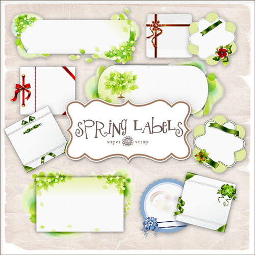 Scrap kit - Collection of Spring Labels