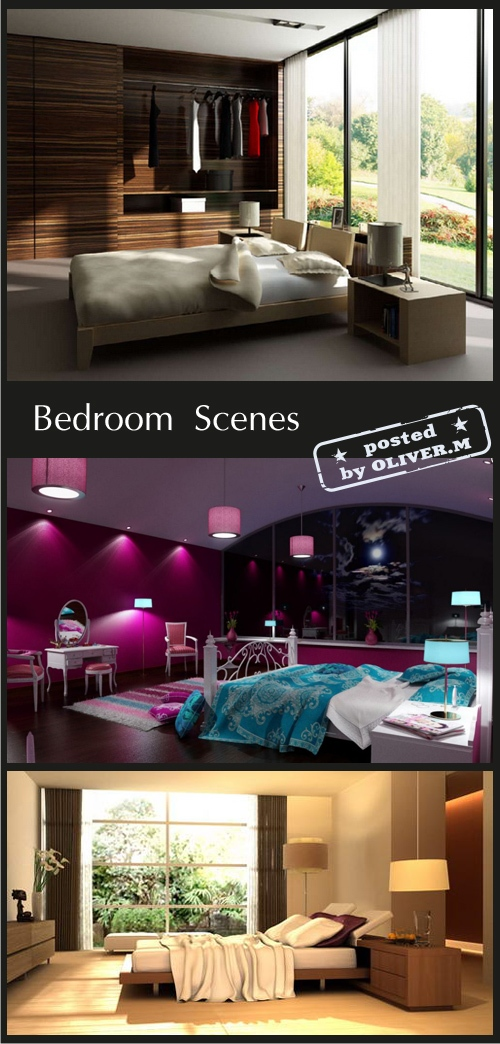 Bedroom Interiors Scenes for 3ds Max, part 2