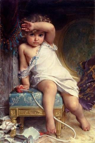 """Предпросмотр схемы вышивки  """"Опрокинутая ваза """".  Опрокинутая ваза, девочка, ребёнок, картина, ваза, лошадка, игрушка."""