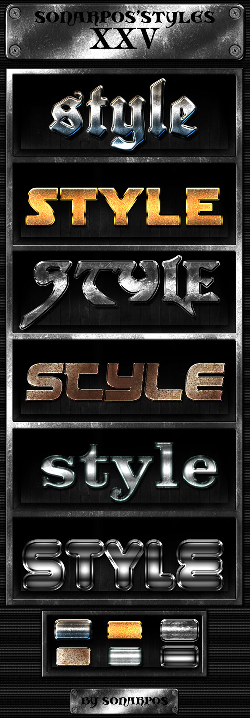 Metal Styles for Photoshop, Pack 2