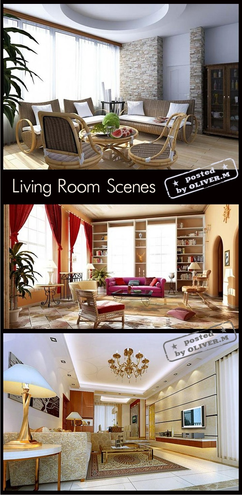 Living room interiors scenes for 3ds max part 8 all for Living room 3ds max