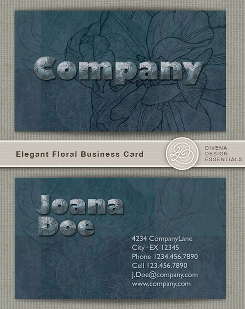 Elegant Floral Business card - PSD template