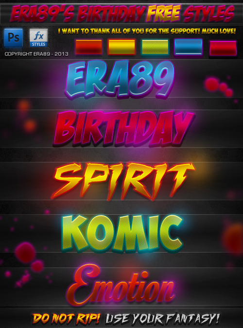 Birthday Styles for Photoshop