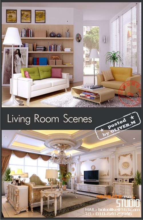 Living room Interiors Scenes for 3ds Max, part 9