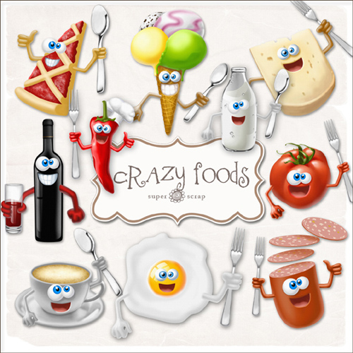 Scrap kit - Crazy Cartoon Foods